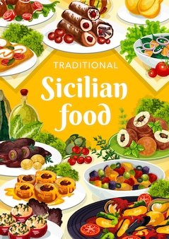 Sicilian food illustration design