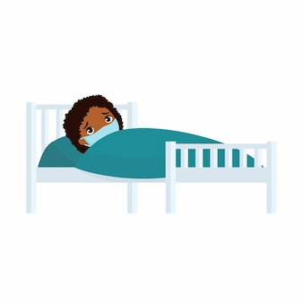 Sick african girl with medical mask in hospital bed illustration