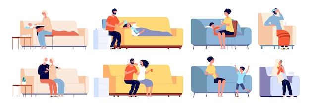 Больные и выздоравливающие люди. больной человек на диване или диване, пожилой молодой человек с термометром. мужчина женщина гриппа, набор векторных семейного лечения. человек больной диван, болезнь дома, болезнь и грипп