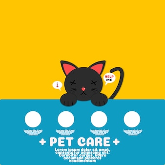 Sick black cat cartoon vector.pet care concept.