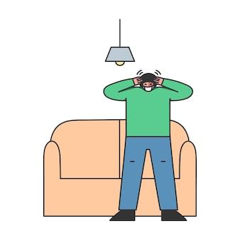 아픈 소년은 두통을 느끼고 집에 머물기로 결정했습니다.
