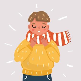 Больной мальчик с гриппом