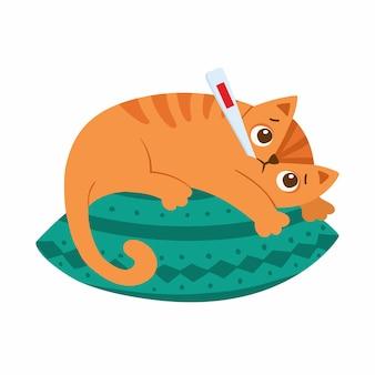 Il gatto malato con il termometro giace sul cuscino. gattino con personaggio dei cartoni animati ad alta temperatura. febbre, sintomo influenzale. animale domestico con freddo isolato su bianco