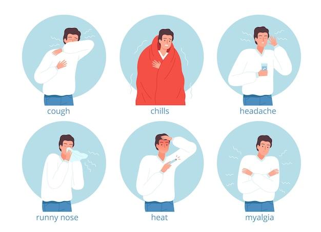 病気のキャラクター。インフルエンザの人の病院のベッドの頭痛の病気の医学的問題のベクトル文字。イラスト病気とインフルエンザのキャラクター、インフルエンザの人