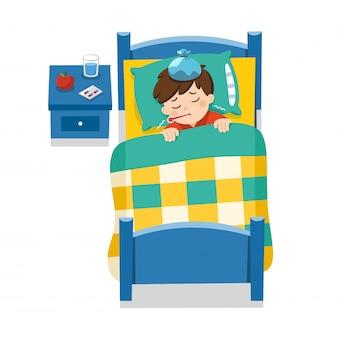 입에 온도계로 침대에서 아픈 귀여운 소년 자고 열이 너무 나쁘다. 담요 아래 침대에 누워 열이 아픈 소년. 삽화.