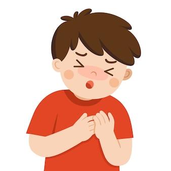 白い背景の上の胸の痛みに苦しんでいる病気のかわいい男の子。インフルエンザの症状。健康問題