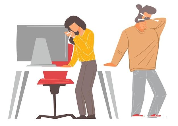 아픈 직원이 작업장에서 기침과 재채기를 합니다. 직장에서 바이러스 질병을 퍼뜨리는 남자와 여자. 코로나바이러스 위험한 전염병 동안 사무실에 머물고 있는 남성과 여성. 평면 스타일의 벡터