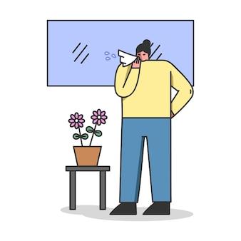 독감 감염 및 러닝 코가있는 아픈 여성 캐릭터는 집에 머물러 있습니다.