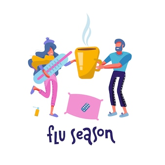 Sick female person having flu or cold. ill woman wrapped in warm scarf holding big thermometer. man giving her hot drink in huge cup. family care concept. modern cartoon flat   illustration