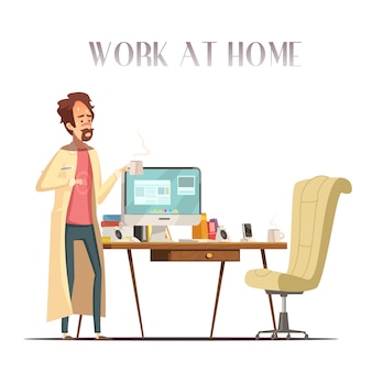Sick feverish man with thermometer works at home laptop in pajama and bathrobe retro cartoon vector