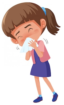 Sick girl coughing isolated