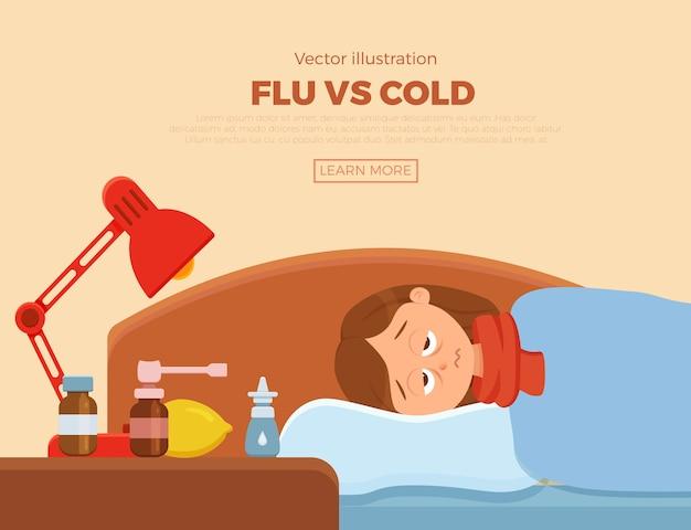 감기, 독감의 증상을 가진 침대에서 아픈 소녀. 담요와 스카프, 약, 레몬, 온도계와 베개에 만화 캐릭터. 고열, 두통으로 건강에 해로운 여자의 그림.