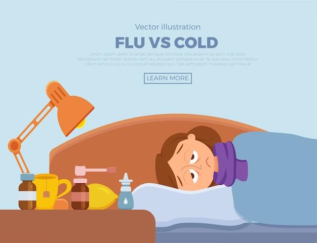 風邪、インフルエンザの症状でベッドにいる病気の女の子。毛布とスカーフ、薬、レモン、温度計と枕の上の漫画のキャラクター。高熱、頭痛のある不健康な女性のイラスト。