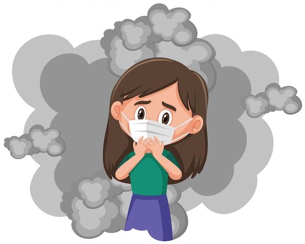 煙でマスクを着ている病気の女の子