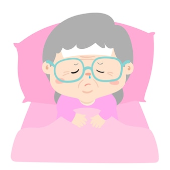 Sick grandmother sleep in bed vector illustration.