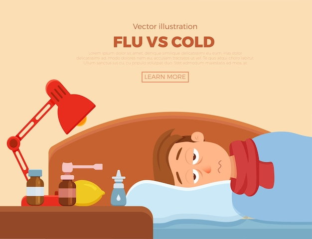Sick guy in bed with the symptoms of  cold, flu. cartoon  character on pillow with blanket and scarf, medicine, lemon, thermometer. illustration of unhealthy men with a high fever, headache.