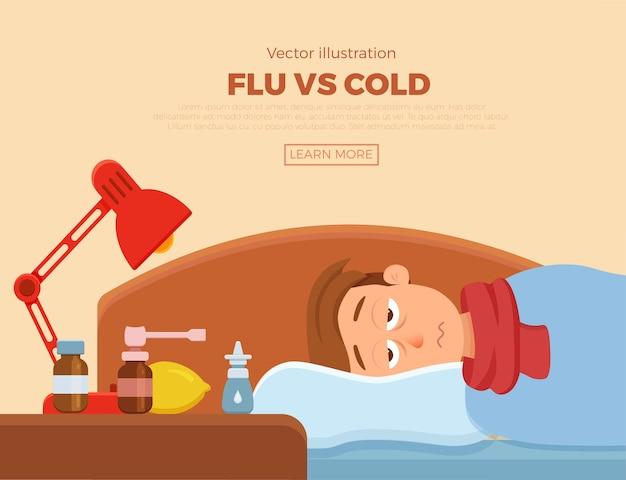 감기, 독감 증상이있는 아픈 사람. 담요와 스카프, 약, 레몬, 온도계와 베개에 만화 캐릭터. 고열, 두통을 가진 건강에 해로운 남자의 그림.