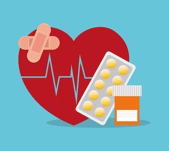 Sick heartbeat healthy medicine bottle pills