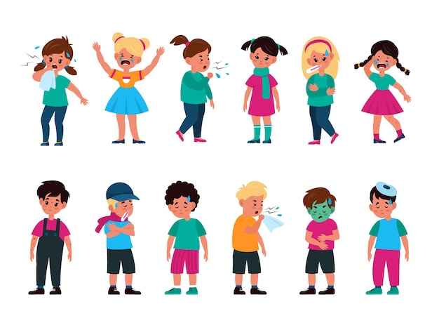 Sick kids set. girls and boys with different disease, flu, cold and cough, rash and vomit, poisoning and chickenpox, unhealthy children standing and crying cartoon vector isolated character collection
