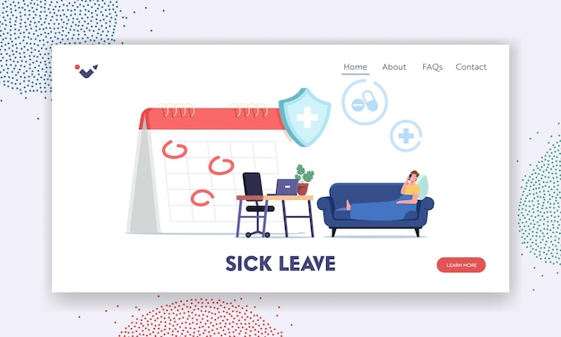 Sick leave landing page template. diseased male character call at work getting workplace guarantees and perks. financing employee disease. health accident insurance. cartoon people vector illustration