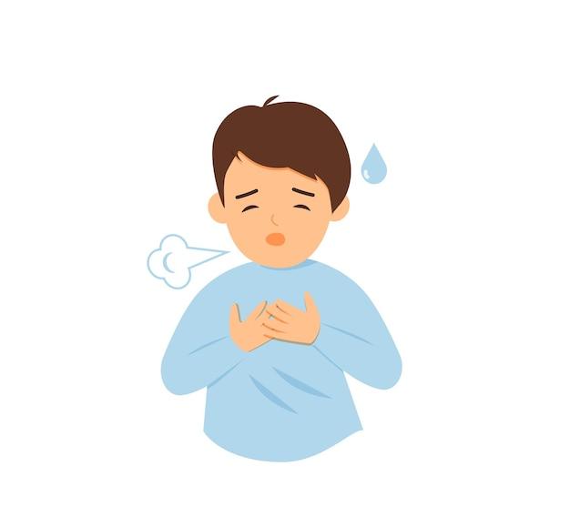 아픈 어린 소년 기침 힘든 호흡 및 호흡 곤란
