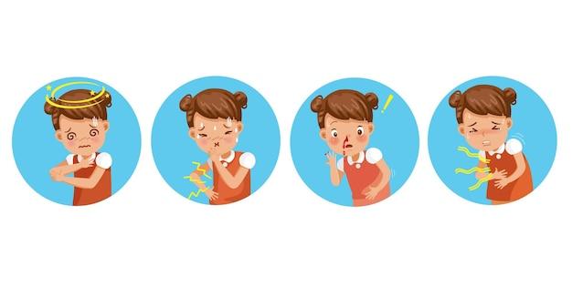 病気の少女セット。子供の病気。めまい、吐き気、鼻血、腹痛。