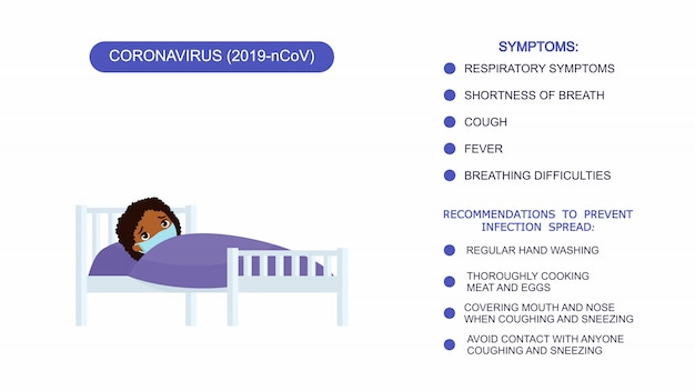 Sick little girl with medical mask in a hospital bed. infographics list of recommendations for protection against coronavirus, symptoms of coronavirus.
