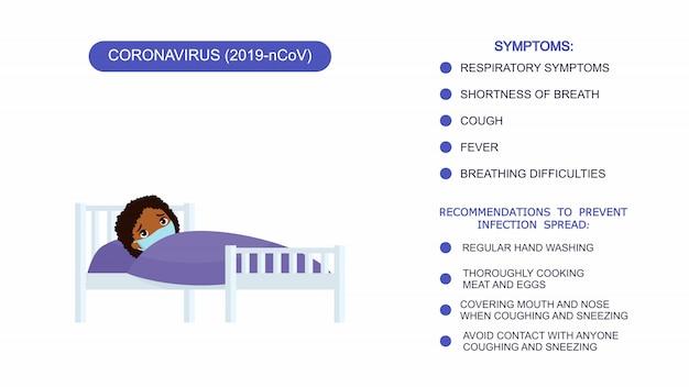 病院のベッドで医療用マスクを持つ病気の少女。コロナウイルス、コロナウイルスの症状に対する保護のための推奨事項のインフォグラフィックリスト。