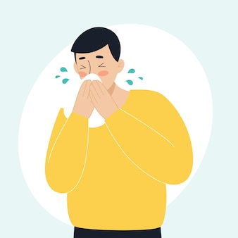 The sick man has a runny nose sneezing the concept of sick people fever