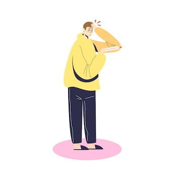 Больной человек держит термометр с высокой температурой иллюстрации