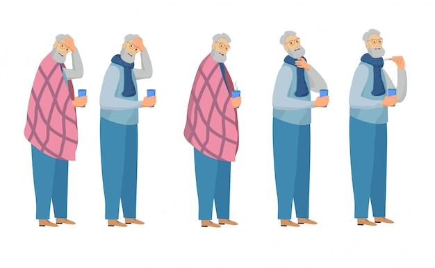 Sick man set. cold man with a thermometer, drinking hot tea,  sneezes with flu isolated on white. flu season items