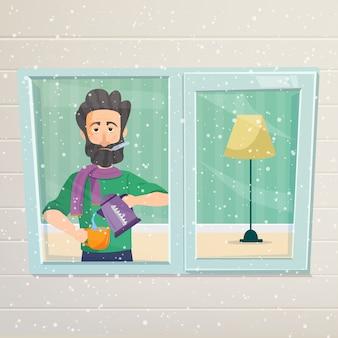 病人が窓の近くに立ち、雪を見る