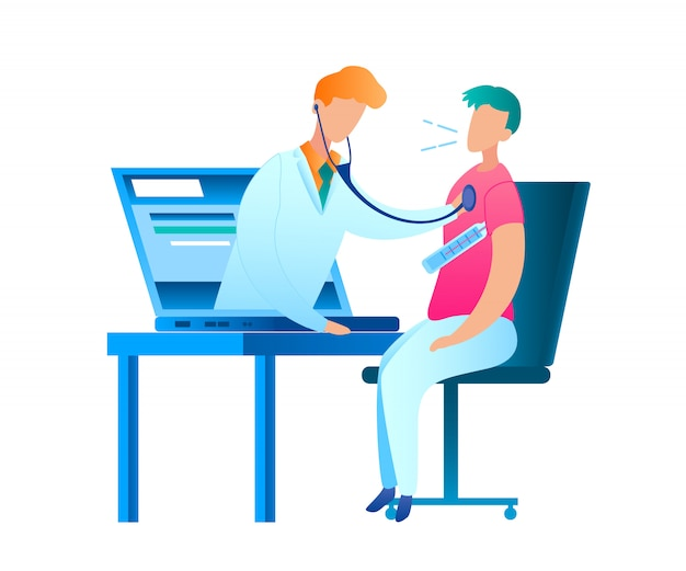 Sick man thermometer measures body temperature. vector illustration guy sitting at table in front laptop. online consultation with doctor. pediatrician examines patient from screen computer monitor