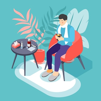 Sick man with flu cold sore throat sitting in armchair with hot drink isometric illustration