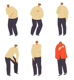 Больной человек с болью набор векторные иллюстрации мужской персонаж с болезнью плохое здоровье с болезнью изола ...
