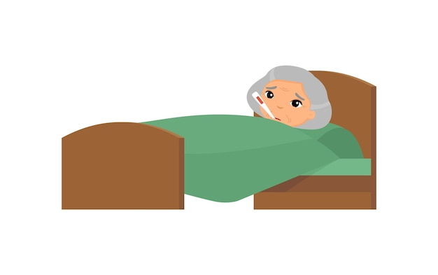 Sick old asian woman with thermometer in bed. granny with high temperature cartoon character. fever, influenza symptom, cold.