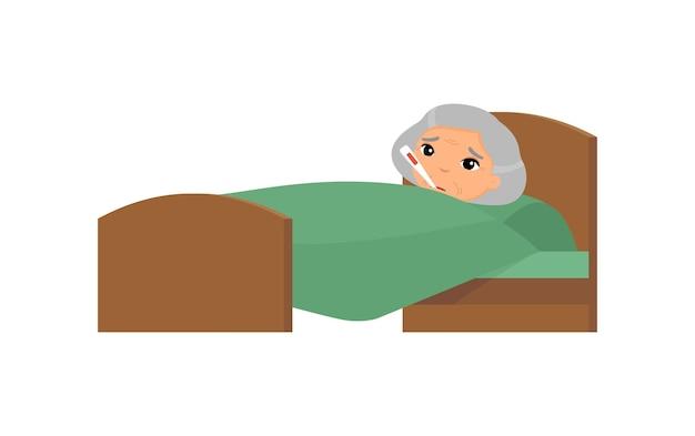 Больная старая азиатская женщина с термометром в кровати. бабушка с высокотемпературным мультипликационным персонажем. лихорадка, симптом гриппа, простуда.