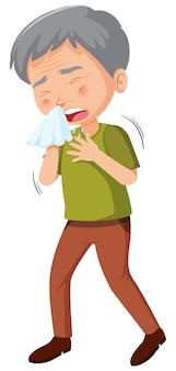 Sick old man caughing