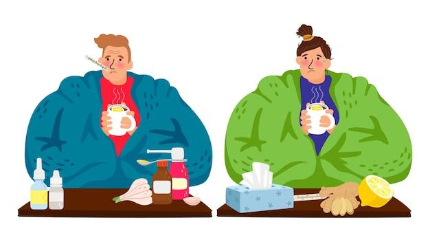 Больные люди. холодный кавказский мужчина и женщина, зимний грипп мужской женский персонаж векторные иллюстрации. пациенты с болезнью