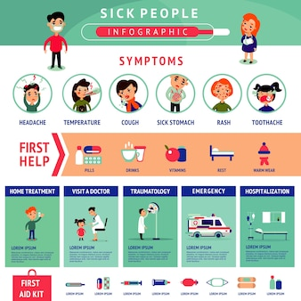 Sick people infographic template