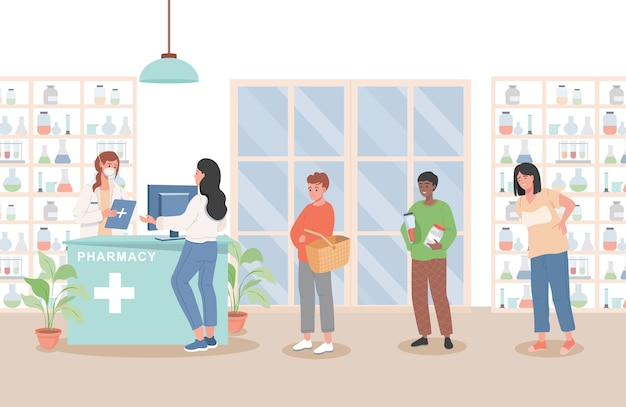 Sick people standing in line in pharmacy and buying drugs flat illustration.
