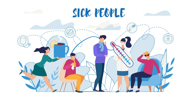 Sick people suffering from flu need help poster