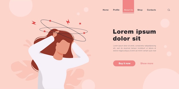 Sick person suffering from vertigo, feeling confused, dizzy and head ache landing page in flat style