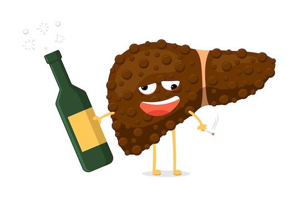건강에 해로운 병에 취한 간 캐릭터는 알코올 병과 담배를 손에 들고 있습니다. 인간의 외분비선 기관 파괴 개념입니다. 벡터 파괴 중독 부상 간 그림