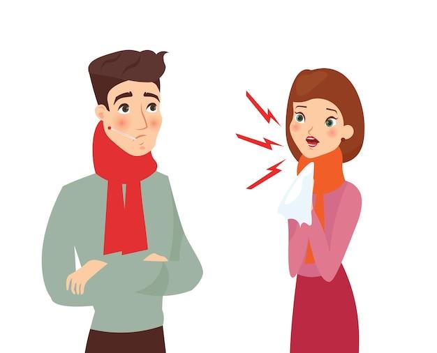 아픈 여자와 아픈 젊은 남자, 기침 및 발열 증상, 건강에 해로운 바이러스, 코로나 개념.