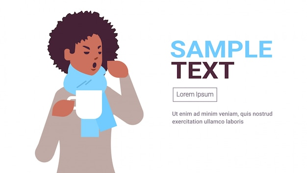 Sick woman having sneeze drinking hot tea unhealthy african american girl in scarf suffering from cold flu virus illness concept flat portrait copy space horizontal