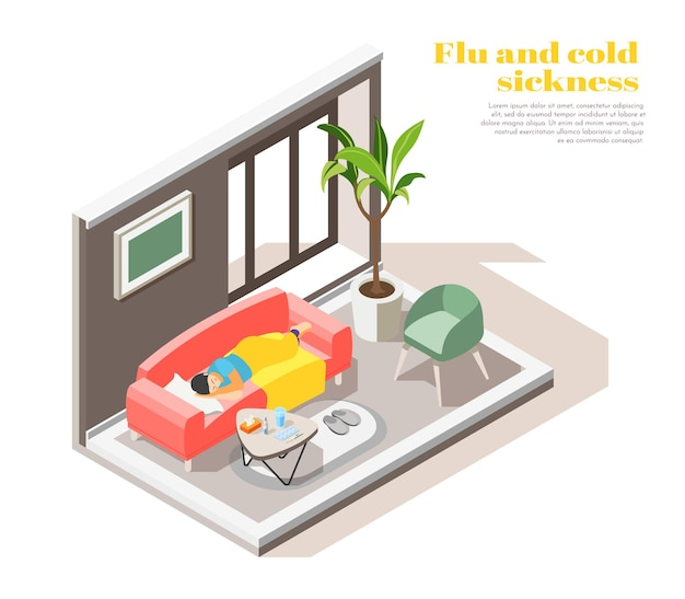 Sick woman with flu cold fever lying under blanket on sofa at home isometric composition