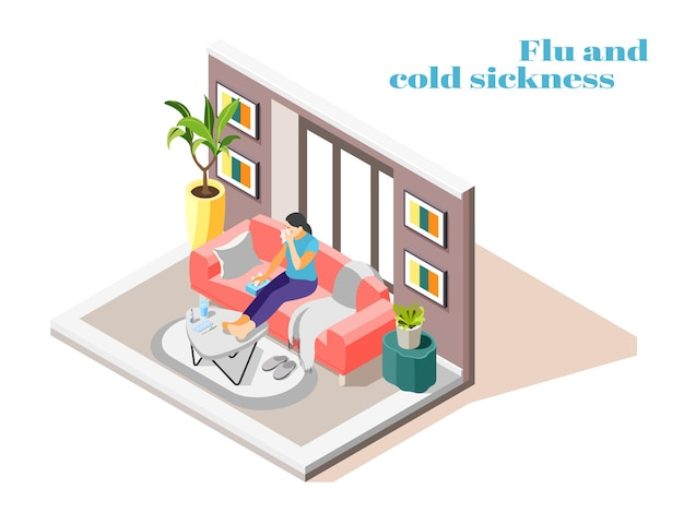Sick woman with flu cold runny nose sitting on sofa at home with handkerchief isometric