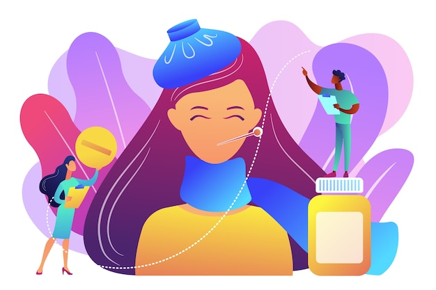 Donna malata con sintomi di influenza e raffreddore e dottori, persone minuscole. influenza stagionale, malattie respiratorie contagiose, concetto di trattamento dei virus influenzali. illustrazione isolata viola vibrante brillante