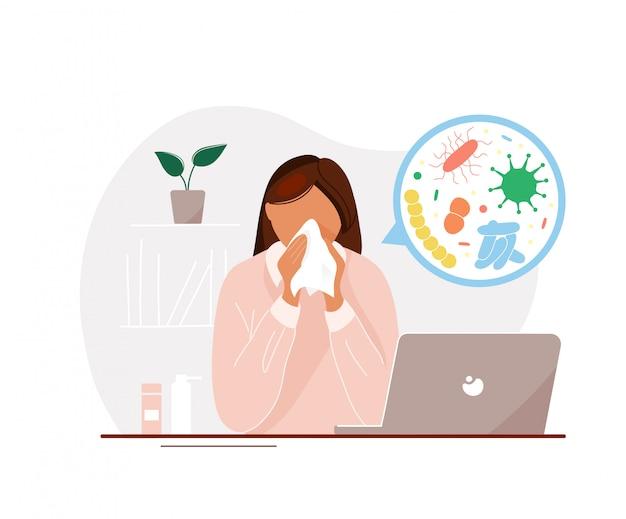 Больная женщина с гриппом в офисе